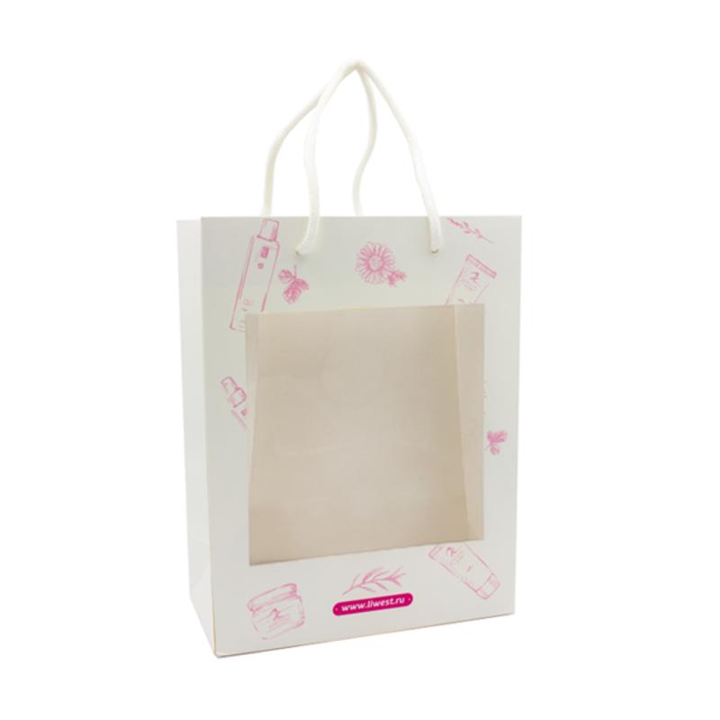 Подарочный пакет с окном для косметики